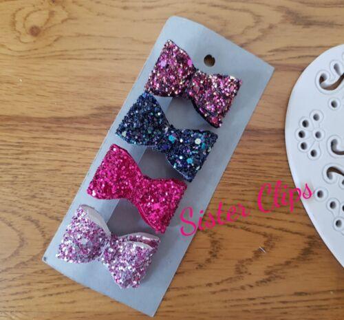 Girls Handmade 4 baby//toddler small winter pink mix Glitter Hair Bow clips