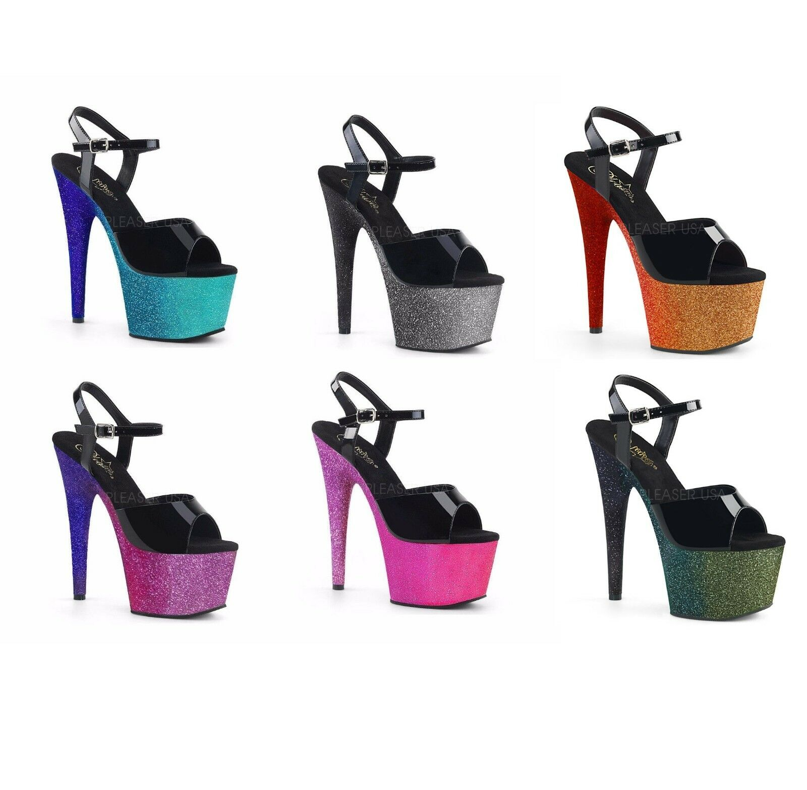 Pleaser ADORE-709OMBRE Exotic Dancing Platform Ankle Strap Sandal Glitters 7