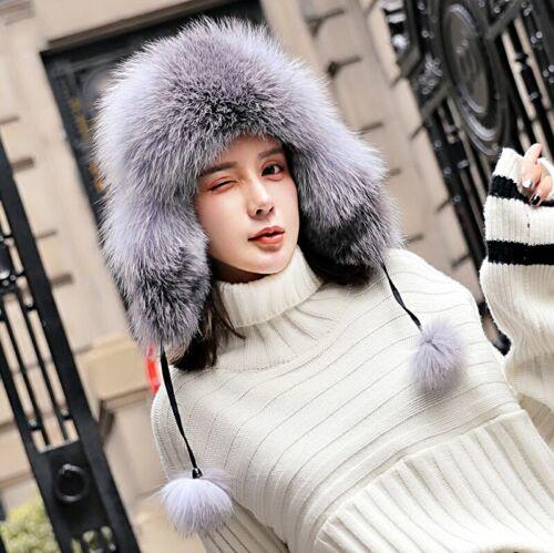 100/% Real Fox Fur Russian Ushanka Hats Winter Aviator Trapper Adjustale Ski Cap