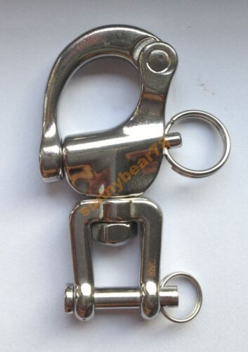 """2.7/"""" 316# Stainless Steel JAW Swivel Snap Shackle Sailing Boat Yacht"""