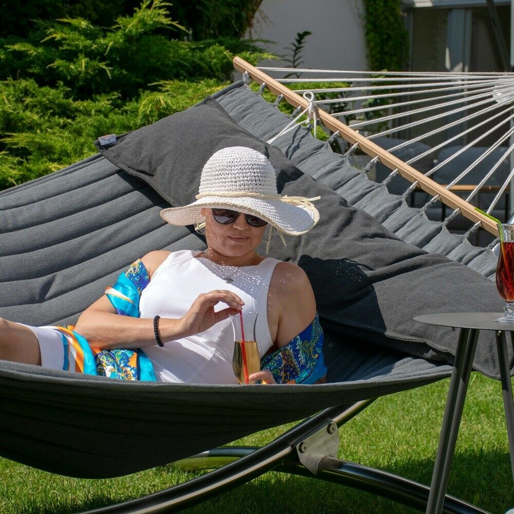 Lola Luxus Stab Hängematte gefüttert American Hammock Lifestyle, schwarzE mit Kisse