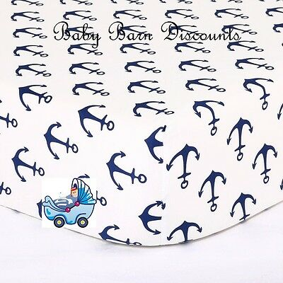 The Peanut Shell Fitted Cot Sheet Navy Anchor