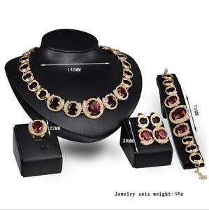 Fashion-Jewelry-Red-Crystal-Set-Necklace-Earrings-Ring-Bracelet-Four-piece-Set