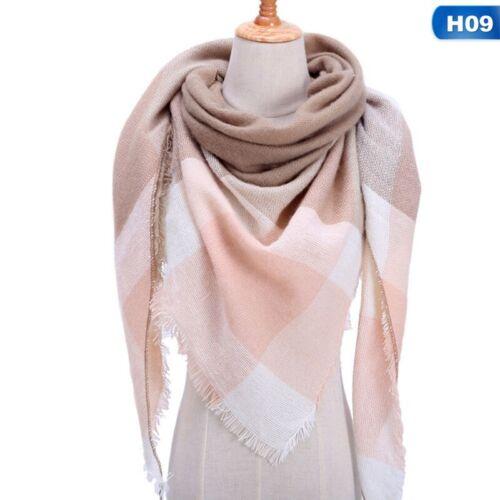 18 S Winter Warm Tartan Check Neck Schal Wrap Stola Plaid Pashmina Womens Q#@