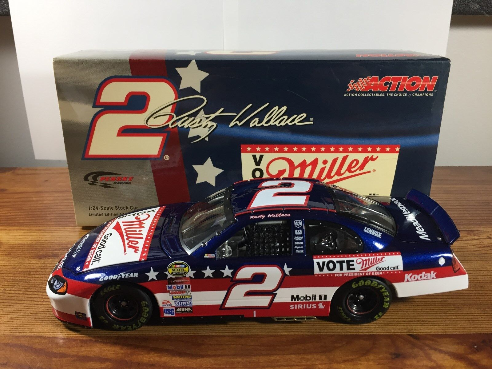 2004 Action RUSTY WALLACE Vote Miller Dodge Diecast Nascar 1 24