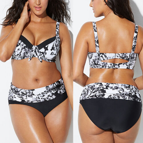 Womens High Waist Bikini Set Padded Bath Suit Swimwear Swimsuit Plus Size 14-20