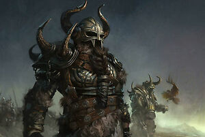 Details About Framed Print Viking Warriors On The Battlefield Picture Poster Fighting Art