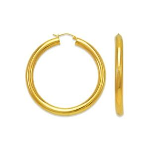 14K-Solid-Yellow-Gold-Italy-Women-Round-Tube-Hoops-2-5mm-Big-Hoop-Earrings