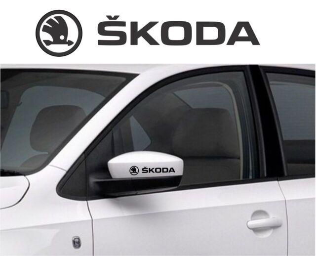 SKODA car wing mirror decals vinyl stickers (4 pieces) 90x19 mm
