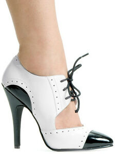 Womens Black White Gangster Shoes