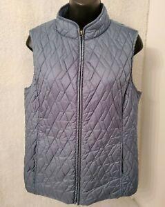 Croft-amp-Barrow-Womens-Bluish-Green-Lined-Zipper-Vest-Jacket-Coat-Size-M
