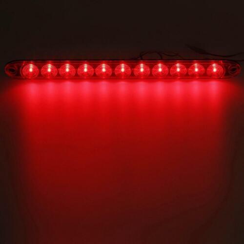 "4x 15/"" Red Amber 11LED Stop Turn Signal Tail 3rd Brake Light Bar Flange Mount"