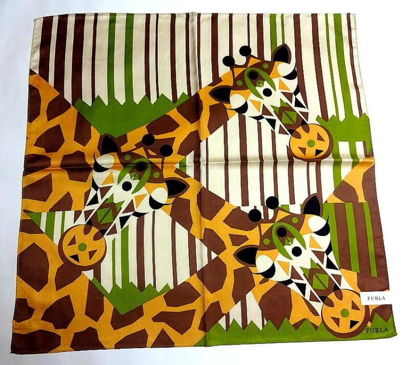 Furla Handkerchief Hanky Scarf Bandana Silk Cotton Giraffe Auth New Collectible