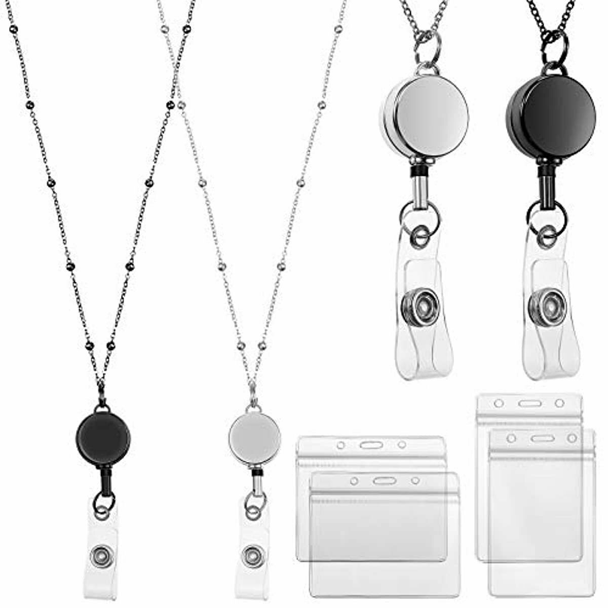2 Pieces Retractable Badge Reel Lanyard with ID Holders Stainless Steel Necklace