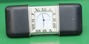 TIFFANY-amp-CO-VINTAGE-ATLAS-TRAVEL-CLOCK-VERY-RARE-BLACK