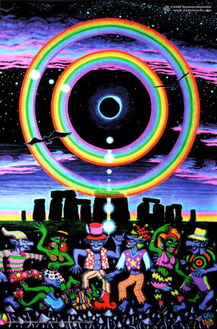 Psychedelic Stonehenge UV Black Light Fluorescent Poster Print Glow In The Dark