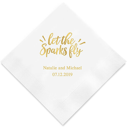 300 Let The Sparks Fly Personalized Wedding Luncheon Napkins
