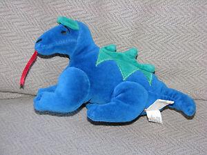 Manhattan Toy Stuffed Plush Bean Bag Velour Dragon 1997
