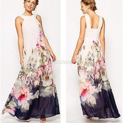 Bohemia Style Women Floral Sundress Sleeveless Long Maxi Party Cocktail Gown U95