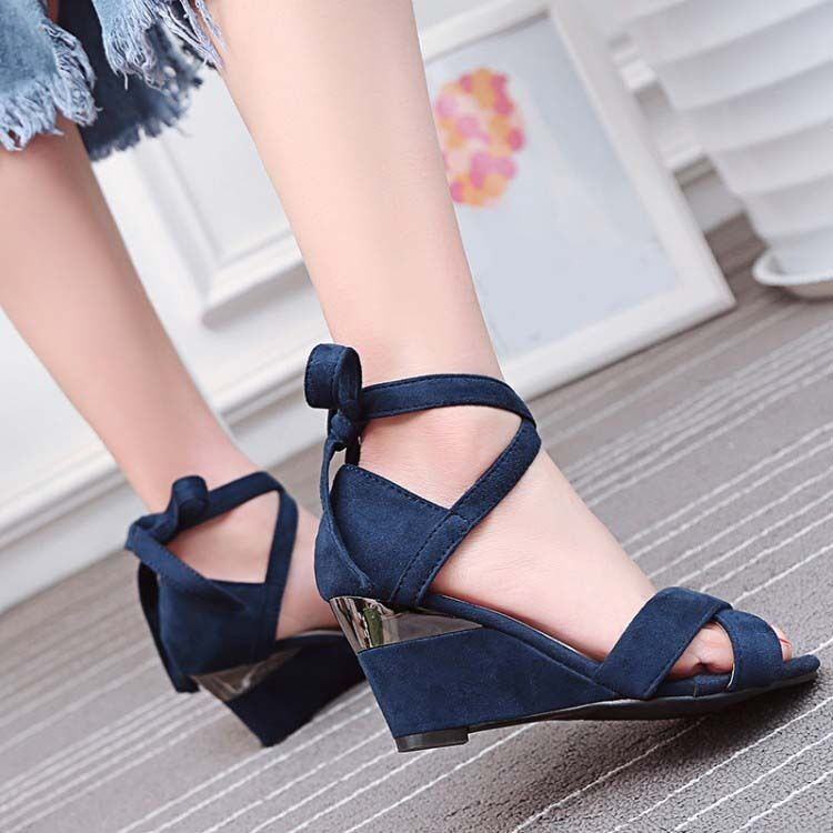 b4489cb85cd20 Vintage Faux Suede shoes Lace Up Strappy Pumps Wedge Heel Sandals ...