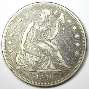1842 Seated Liberty Silver Dollar $1 - XF Details (EF) - Rare Early Coin!