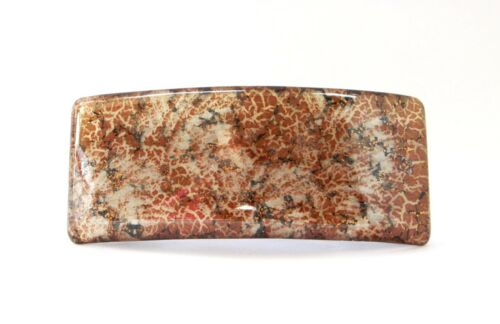 French Hand Painted 3.5 x 1.5 Inches Large Celluloid Tortoise Hair Barrette P08