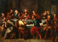 17th CENTURY FLEMISH BAROQUE OLD MASTER OIL ON COPPER PANEL - LAST SUPPER CHRIST