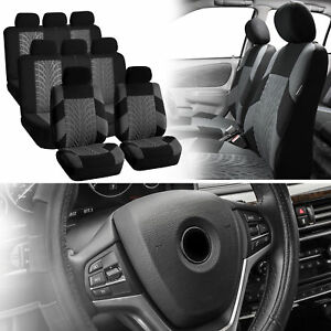 3Row-SUV-8seats-Gray-Covers-with-Black-Leather-Steering-Cover-for-Auto