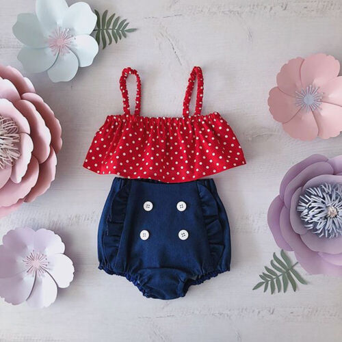 Ruffle Shorts Pants Outfit Clothes Set US Newborn Toddler Baby Girl Tube Tops