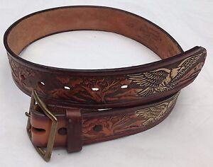 Western-American-Leather-Belt-Vintage-Embossed-Saddle-Leather-Eagle