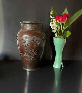 Vase Bronze Chine Ou Japon Ancienne Lampe