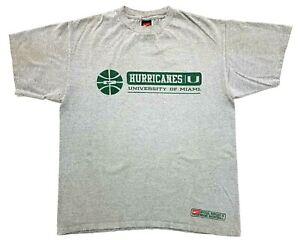 Vintage Nike Miami Hurricanes Basketball Tee Grey Size M Mens Distressed T-Shirt