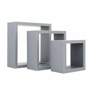 Square-Floating-Wooden-Wall-Storage-Display-Shelves-3-Sizes-Grey-Set-of-3