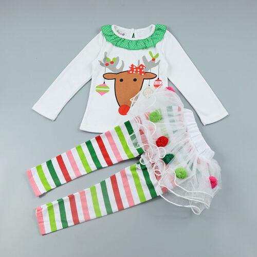 UK Stock Sale Lovely Xmas Outfit Sleepwear Reindeer Top Skirt leggings 1-5 Y