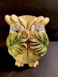 "Vintage Stone Resin Owl Figurine Covering Eyes Circa 1970's 4.5""x 3"""