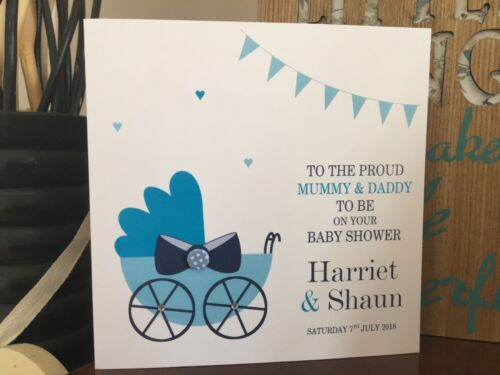Blue Pram Boy Personalised Handmade Congratulations Baby Shower Card