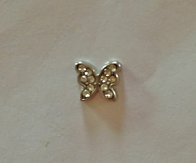 Pink CZ Butterfly Floating Charm Silver Tone For Custom Memory Glass Lockets