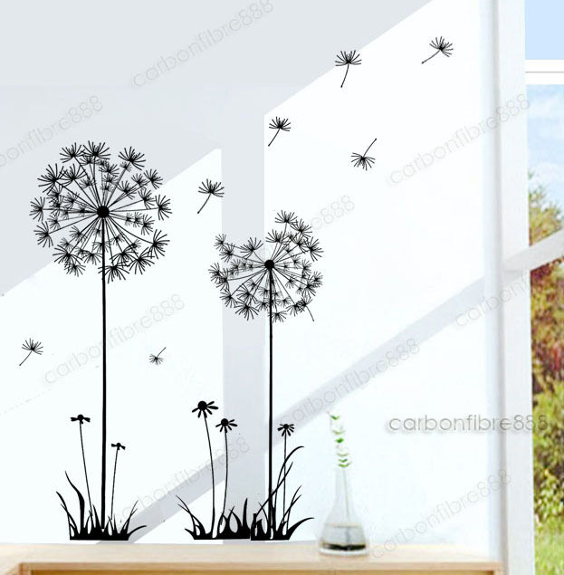 Dandelion Flowers Wall Stickers Transparent Wallpaper Decor Art Decal Home DIY