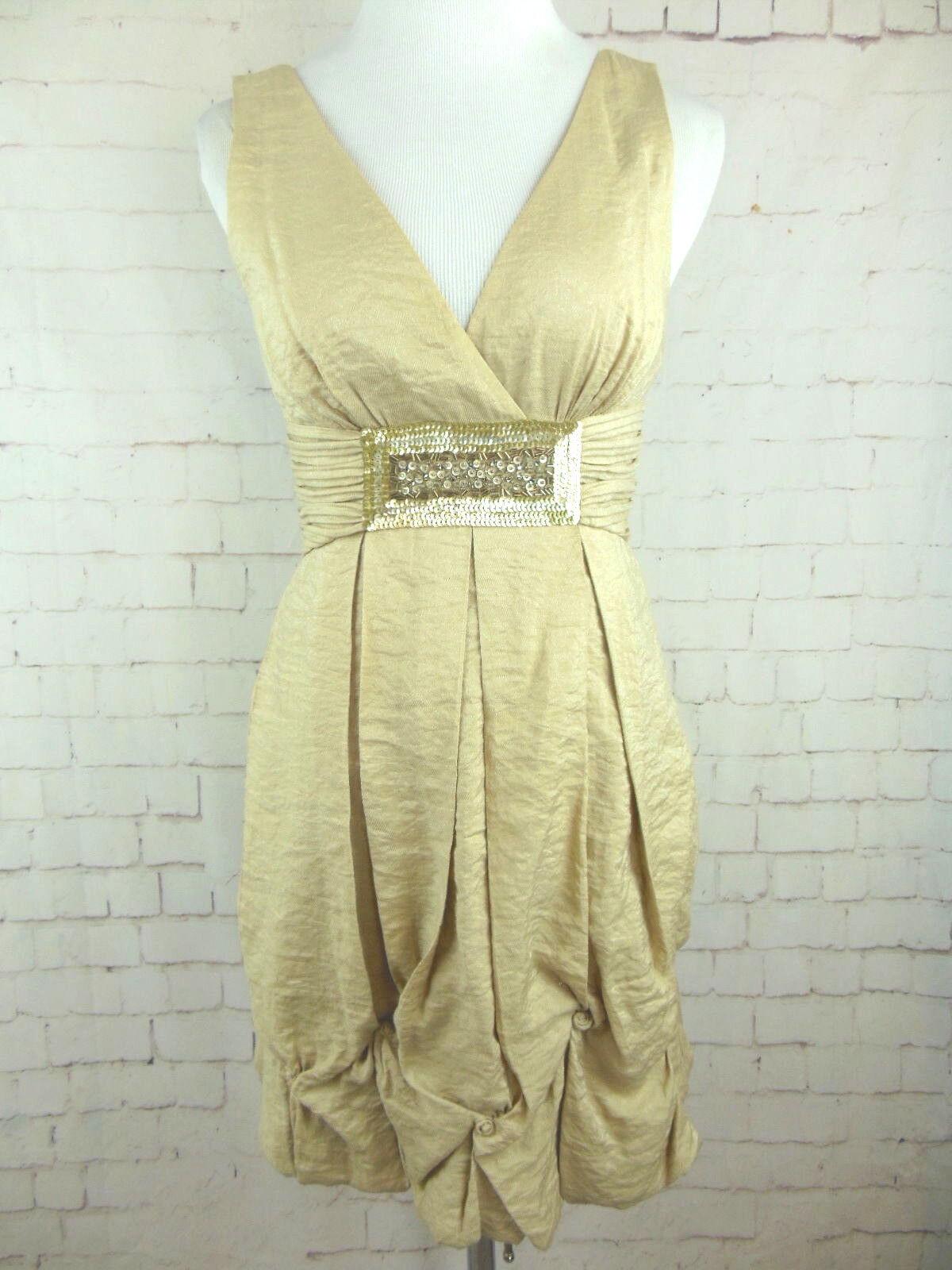 ..BCBGMAXAZRIA Metallic Gold Bubble Hem Beaded Low Cut Rosa Knot Dress Sz 0 TT