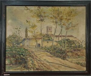 PAYSAGE RURAL. HUILE SUR TOILE. ANONYME XX SIÈCLE