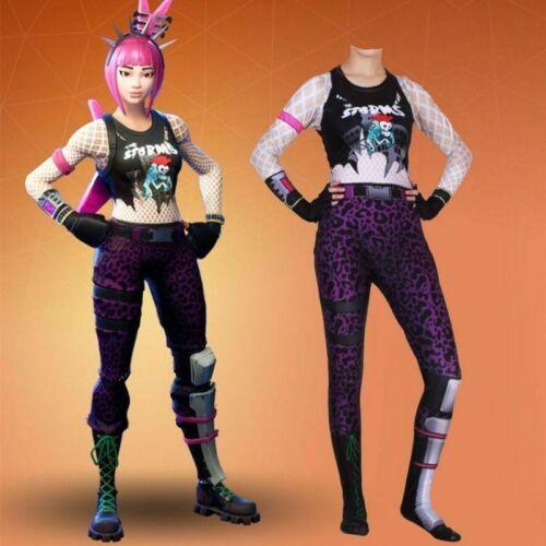 Purim Fortnight costume game power chord zentai cosplay jumpsuit kids women new