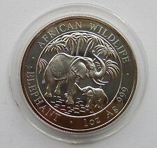Somalia 100 Chelines 2007 - Africana Wildlife Elefante, 1 onza Plata 999