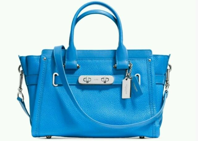 59616ca0b599 Coach Swagger 27 Pebble Leather Satchel 34816 Azure Blue for sale ...