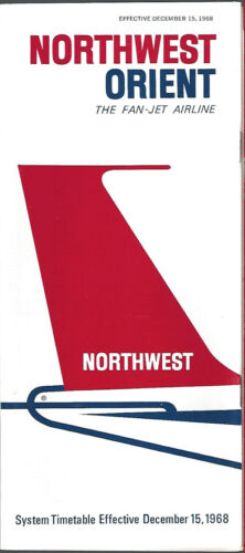 Northwest Orient Airlines system timetable 12//15//68 6031 save 25/% Buy 4