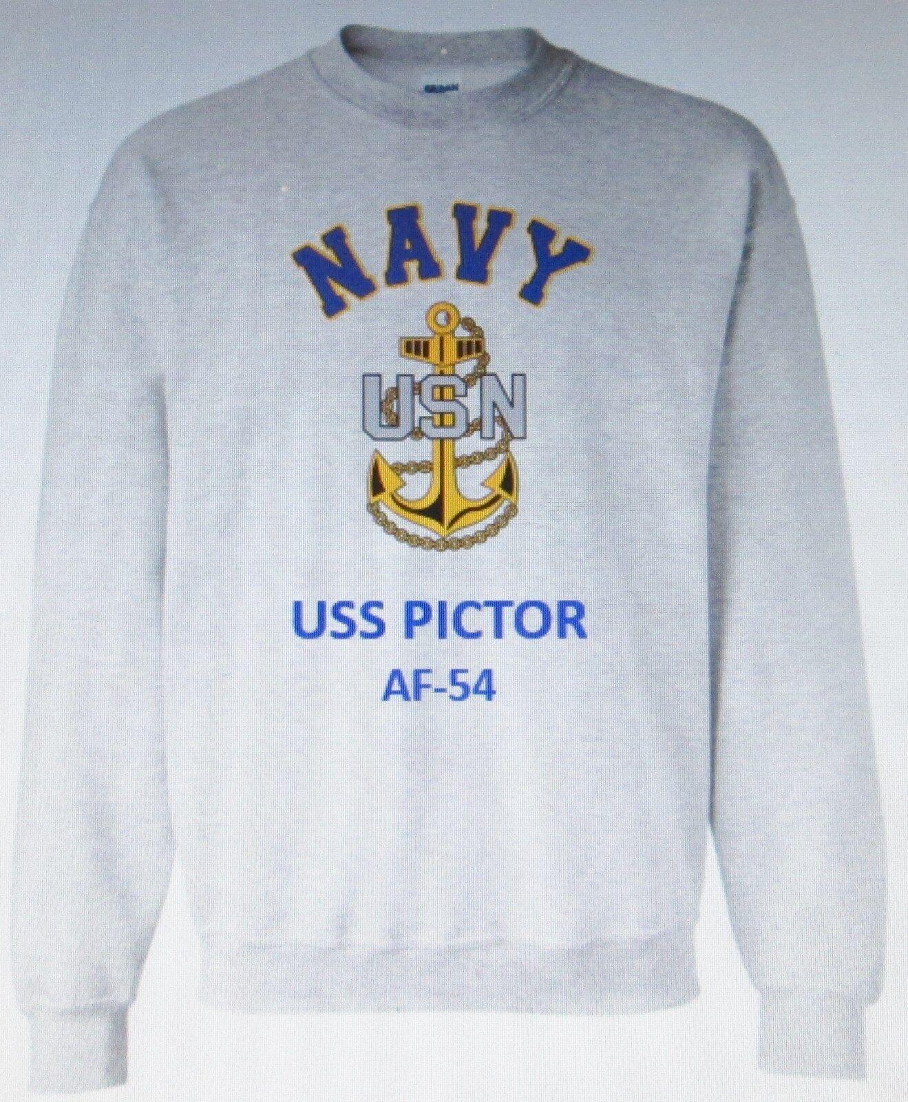 USS PICTOR  AF-54  STORES SHIP  NAVY ANCHOR EMBLEM SWEATSHIRT