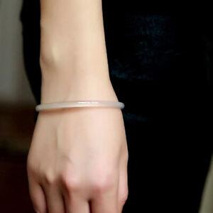 Hot-Chinese-Natural-White-Icy-Jade-Jadeite-Bangle-Bracelet-Thin-amp-Small-54-55MM