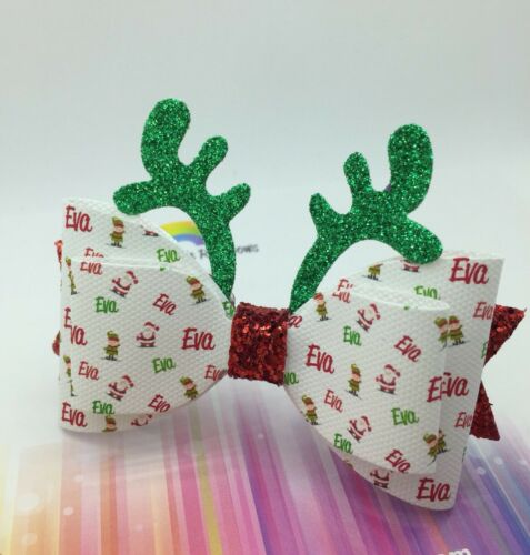 """Christmas Personalised Bow Any Name Rudolph Antlers Pom Glitter Hair Bow 3.5"""""""