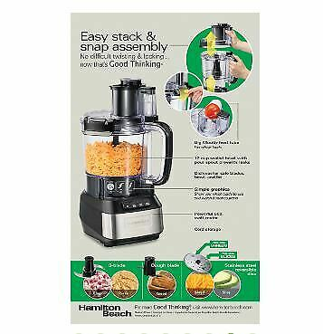 Hamilton Beach 70727 Stack and Snap 12-Cup 3-Speed Food Processor, black