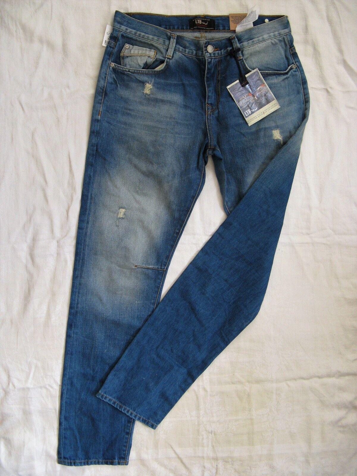 LTB Justin señores Men azul jeans  w32 l32 normal waist regular fit taperojo leg  barato