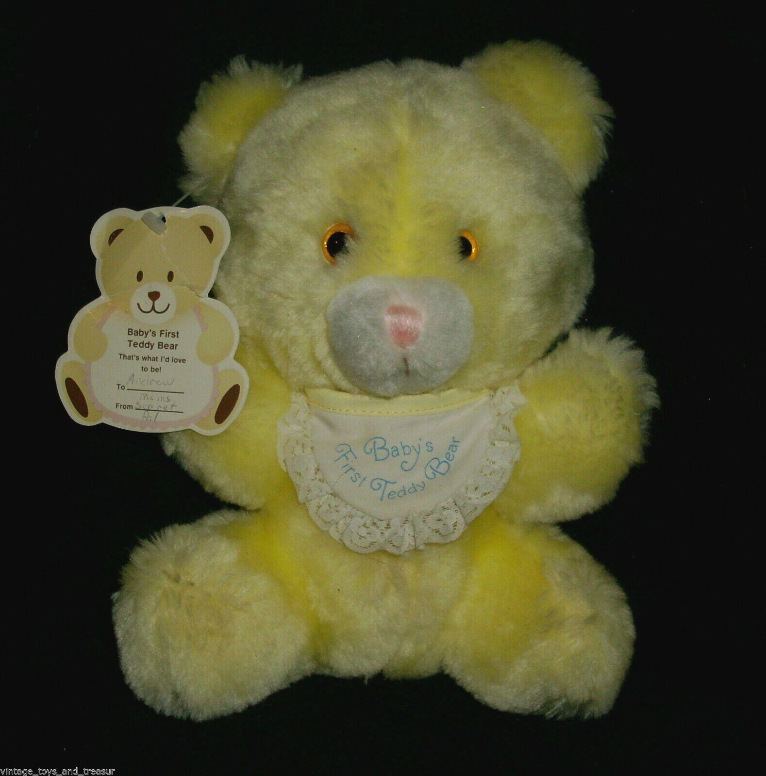 8   Vintage 1985 Hallmark Gelb Teddybär BABY'S 1ST Plüschtier Plüsch Spielzeug
